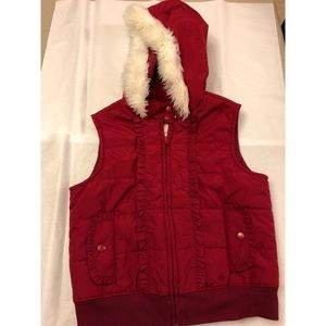 Girls Gymboree Puffer Vest with Furry Hood
